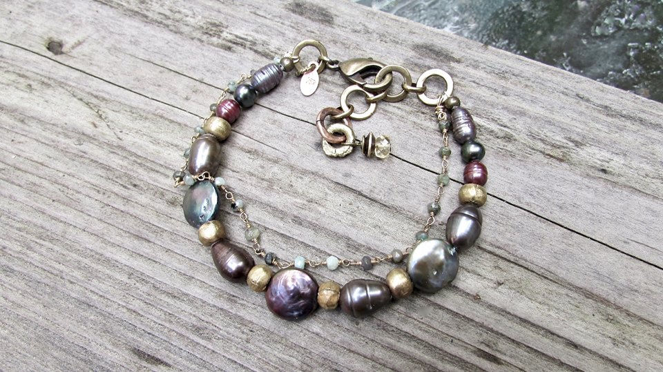 Coin Pearl and Peruvian Opal Bracelet