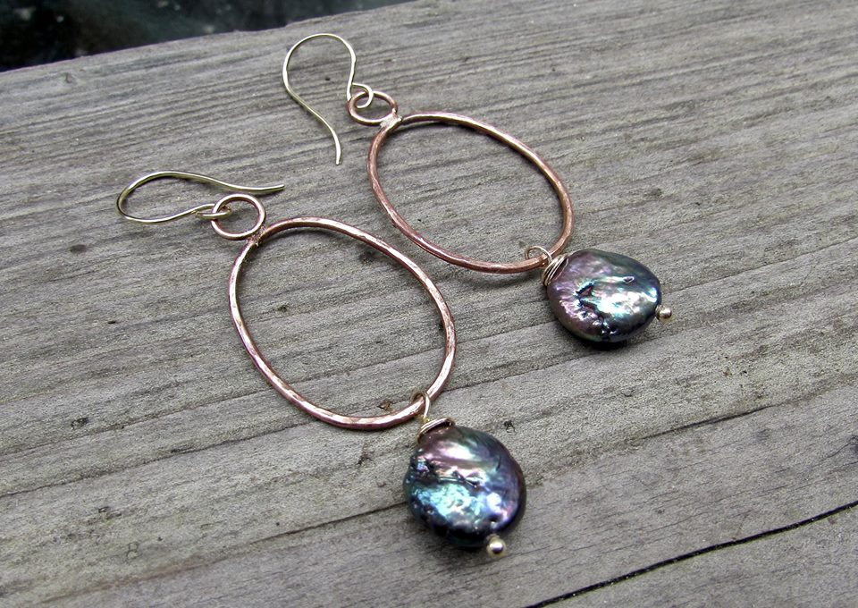 Coin Pearl and Hammered Copper Earrings