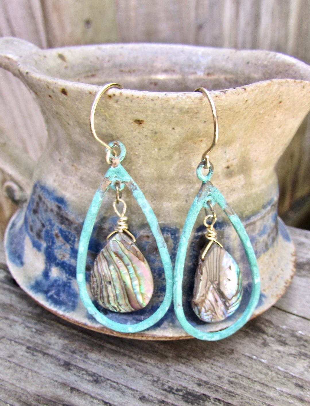 Simple abalone shell drop earrings, can really help you spring into springtime!
