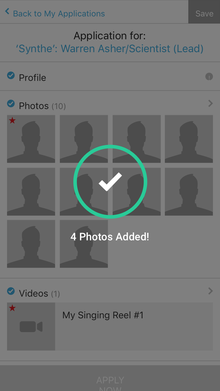 Photo added to application success screen