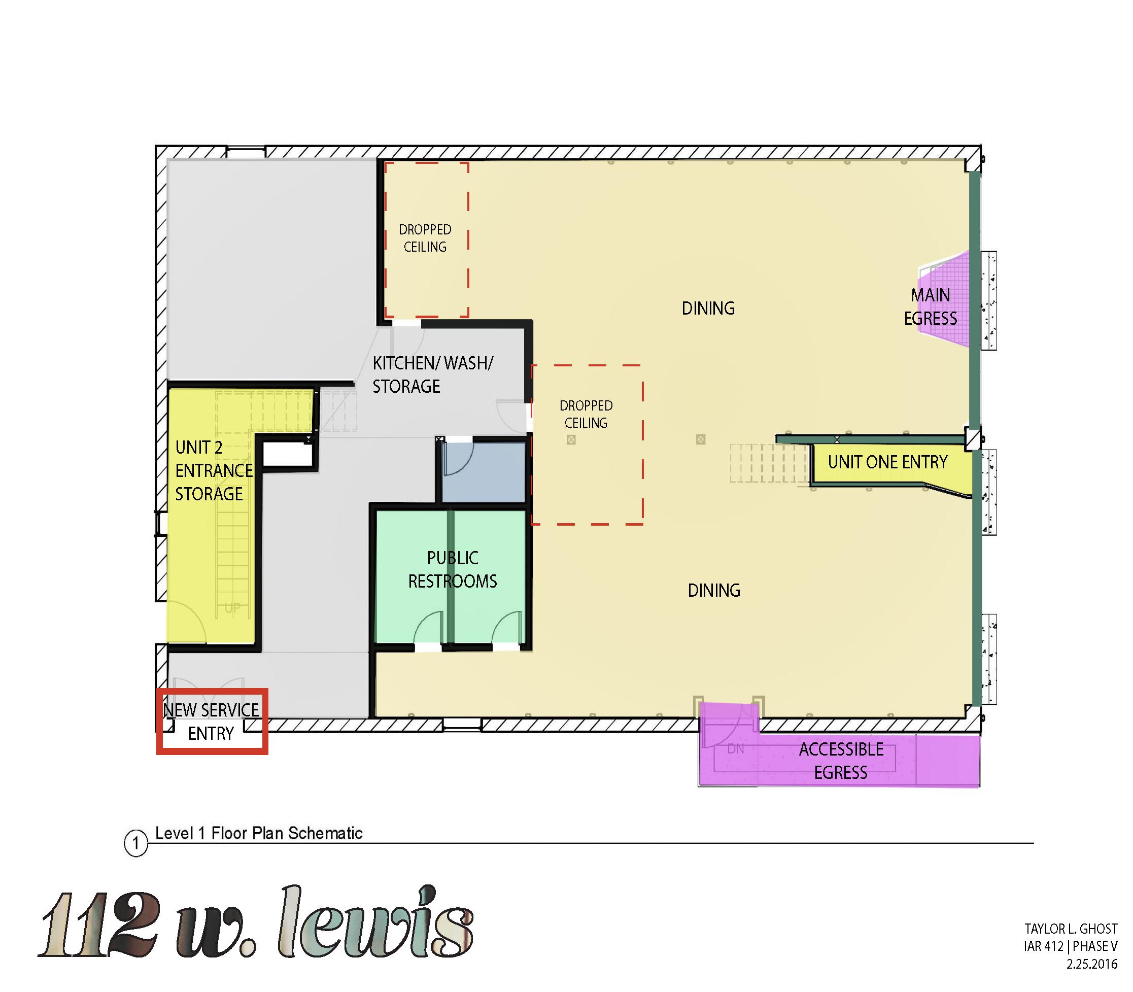Schematic Layout for Restaurant on 1st Floor