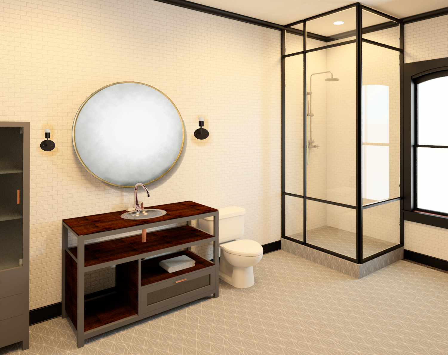 112 W. Lewis - residential unit bathroom rendering