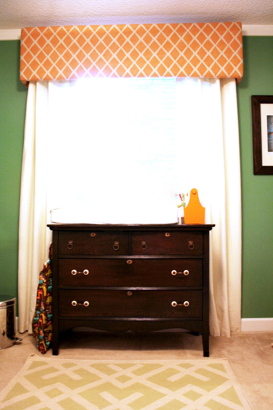 Jacksonville, FL Nursery = vintage changing table + custom valance