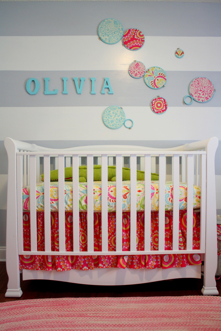 Ponte Vedra Beach, FL Nursery - crib + feature wall