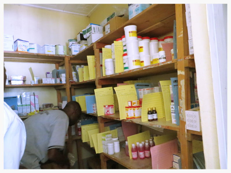 This is the pharmacy at our clinic. As you can see it is neatly organized with room remaining for many more drugs.