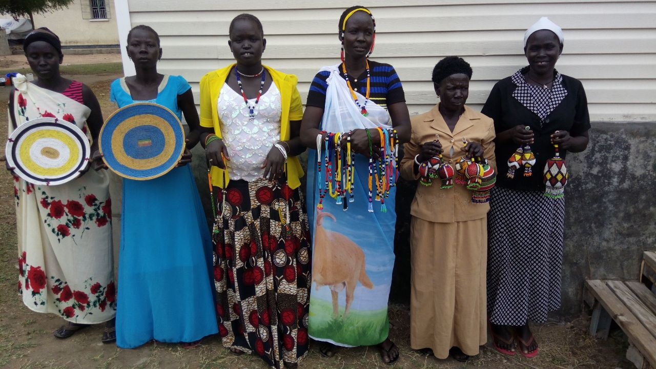 Dinka artisans from the Odubu Rhino Refugee Camp.