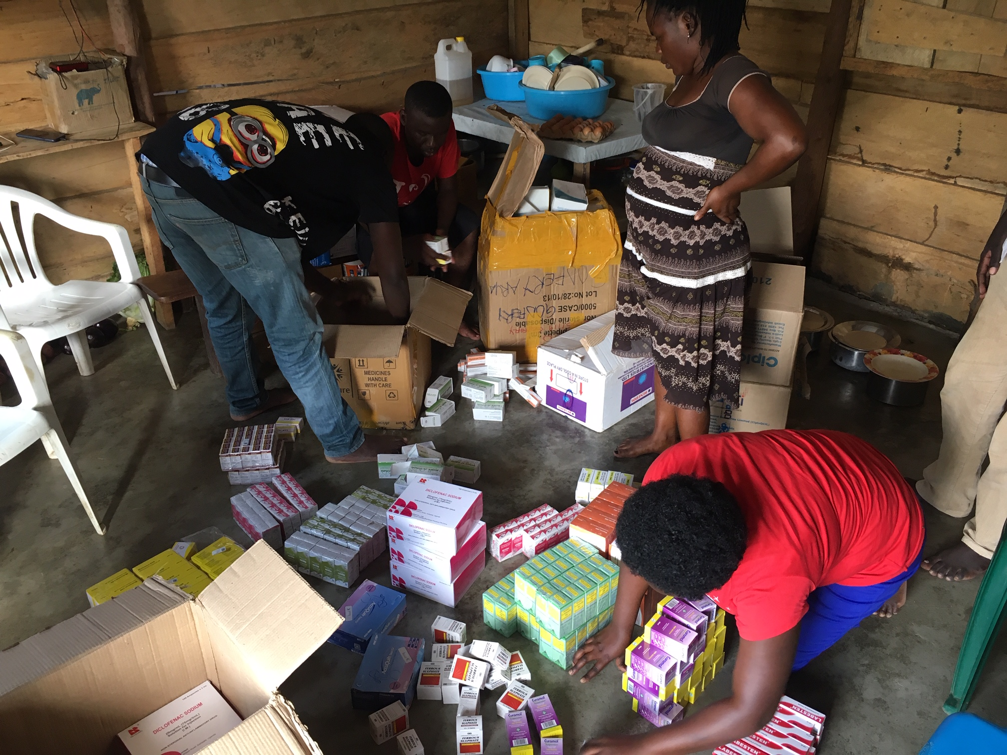 Dropping medications and supplies at the Imvepi Health Center