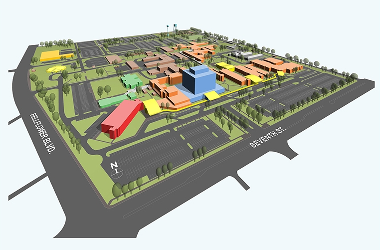 Southwest view of the VALBHS campus 3D model.