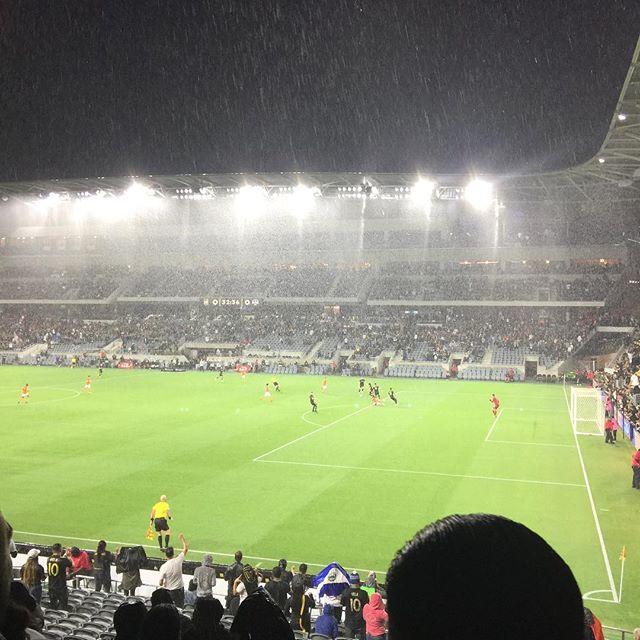 The rain didn't stop PDA from cheering on LAFC (or Dodgers) on game night! #lafc #blackandgold #d9u #rainorshine #pda #puchlikdesign #architecture #bancofcaliforniastadium #dodgers #jumboton