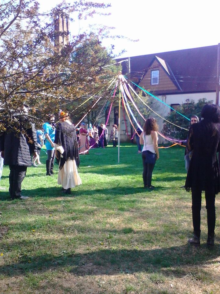 Maypole Dance about to begin... (image source:  Long Island Beltane Facebook page )