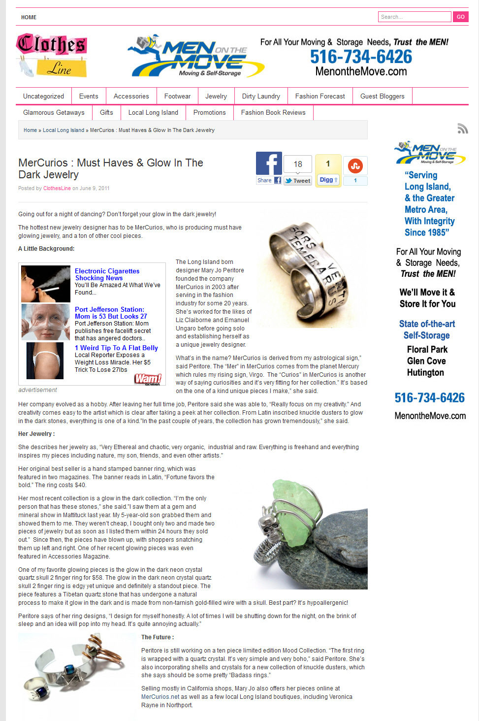 Long Island Press - Clothes Line: MerCurios: Must Haves and Glow in the Dark Jewelry 6.09.2011 // June 2011