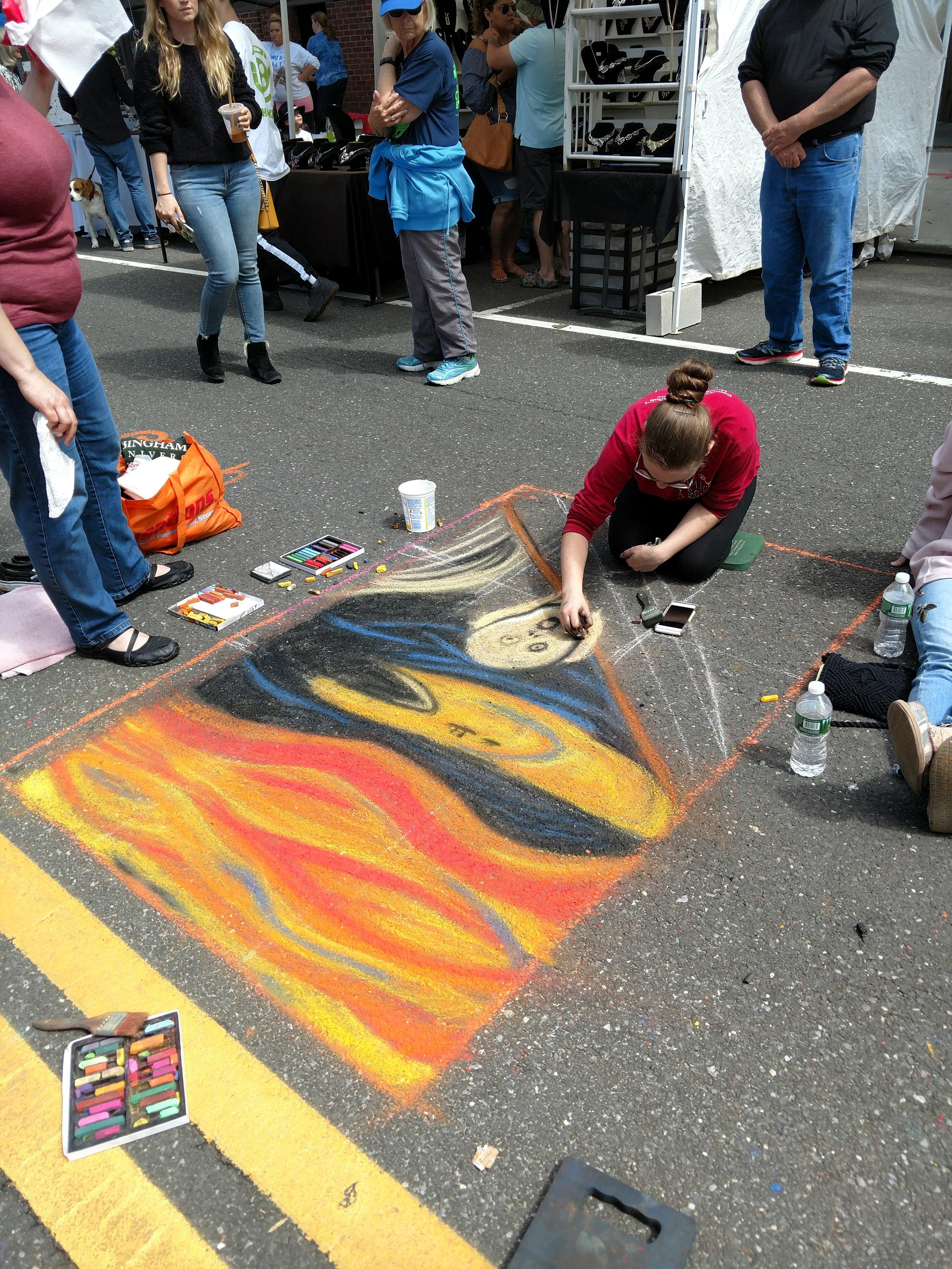 The Scream Chalk Art