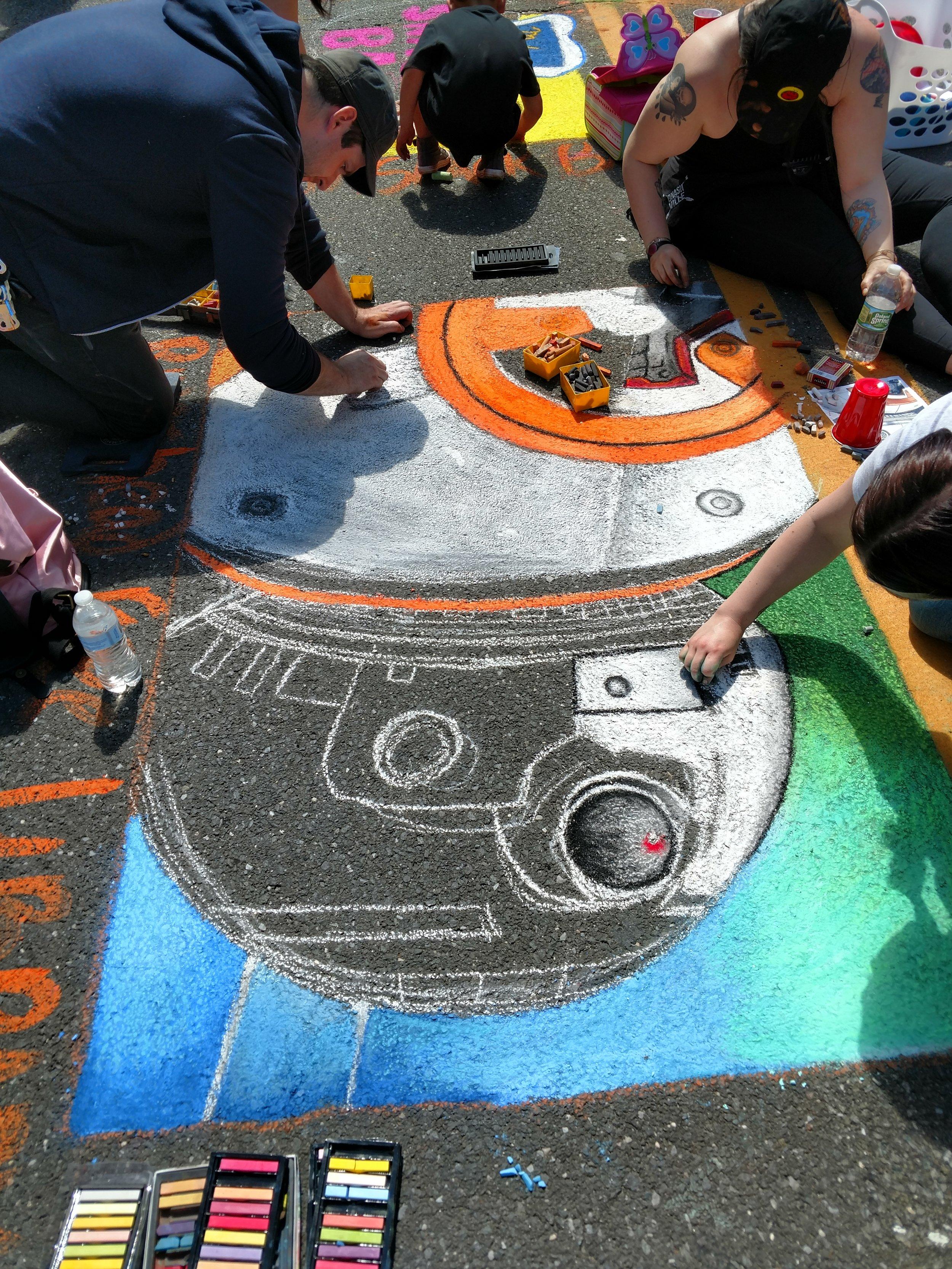 Star Wars BB8 Chalk Art