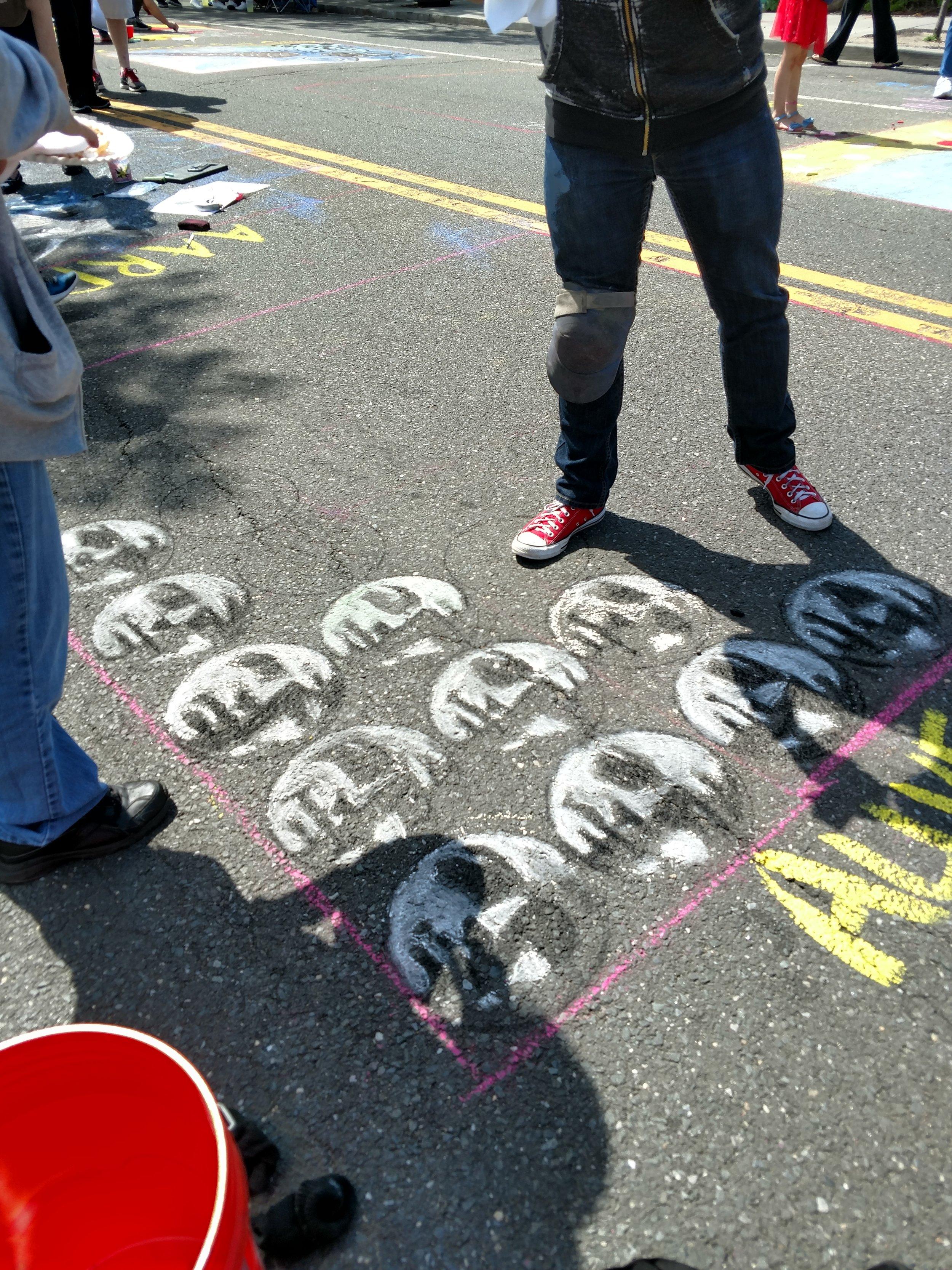 Moon Faces Chalk Art