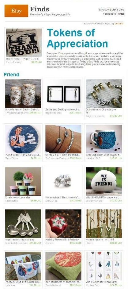 Etsy Finds - Tokens of Appreciation //  November 2010