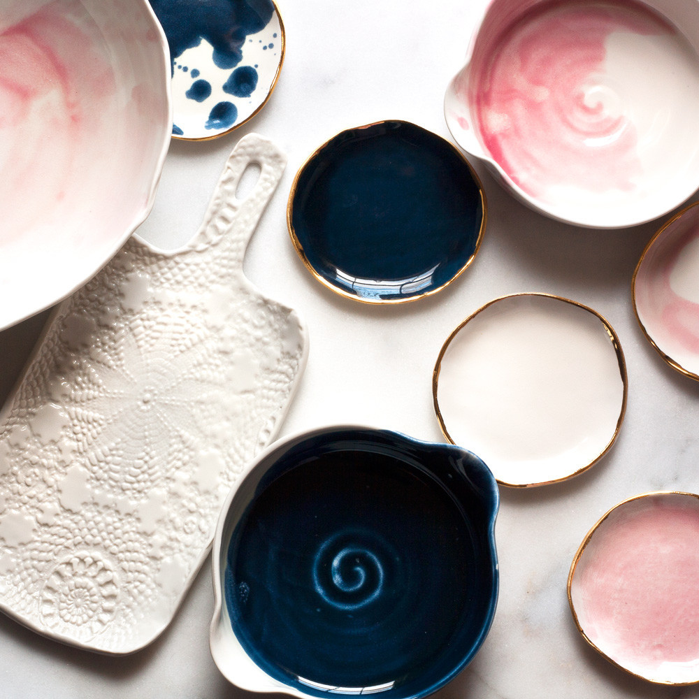 Suite One Studio   produces chic, colorful porcelain that can dress up both dining tables and coffee tables.