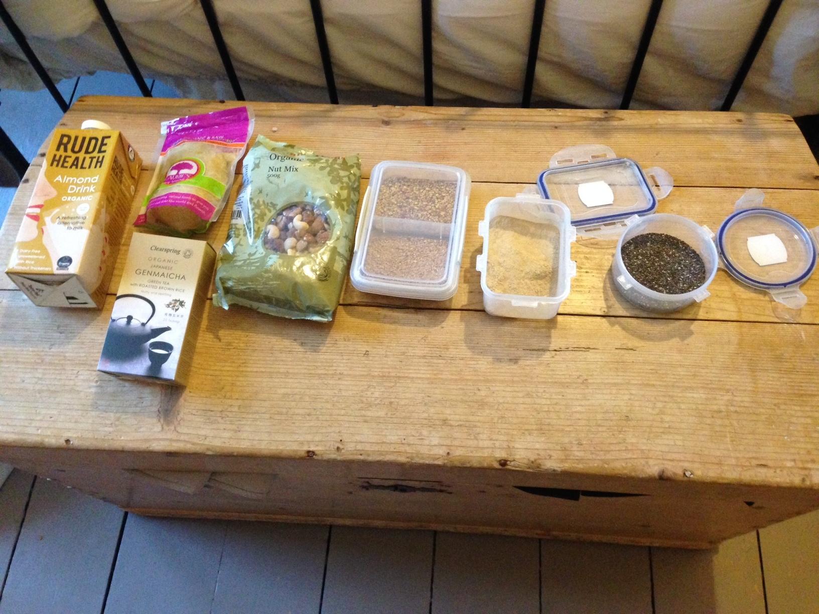 Super foods chia seeds bee polen green tea almond milk sauerkraut and ashtanga powder