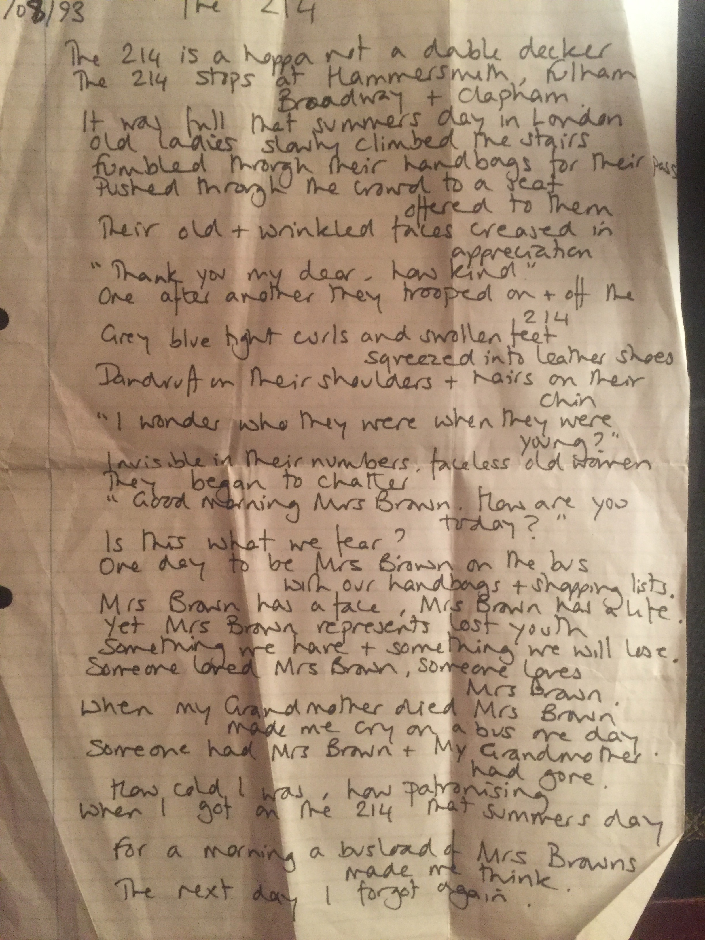 The 214 - written in 1993 (not the best picture of it!)