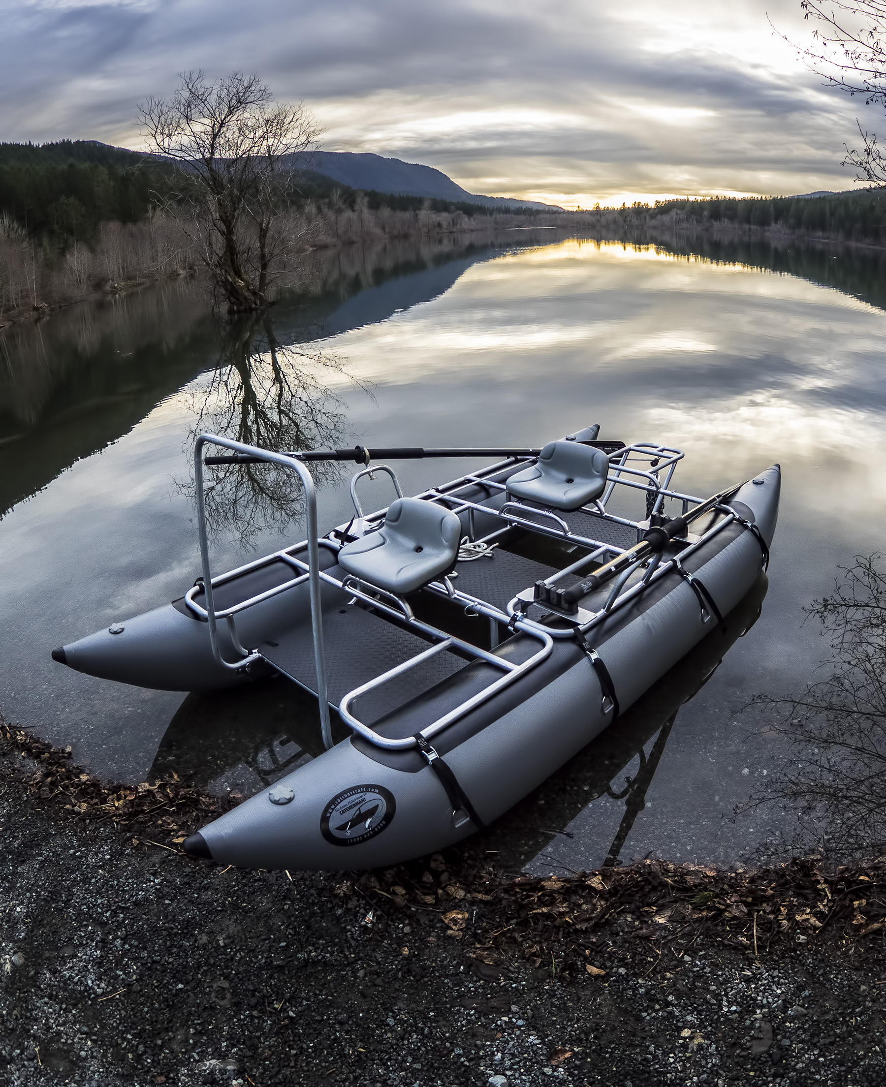 2-Salt Steelhead package with optional deluxe anchor system and rod holders, ready for the magical time of last light.