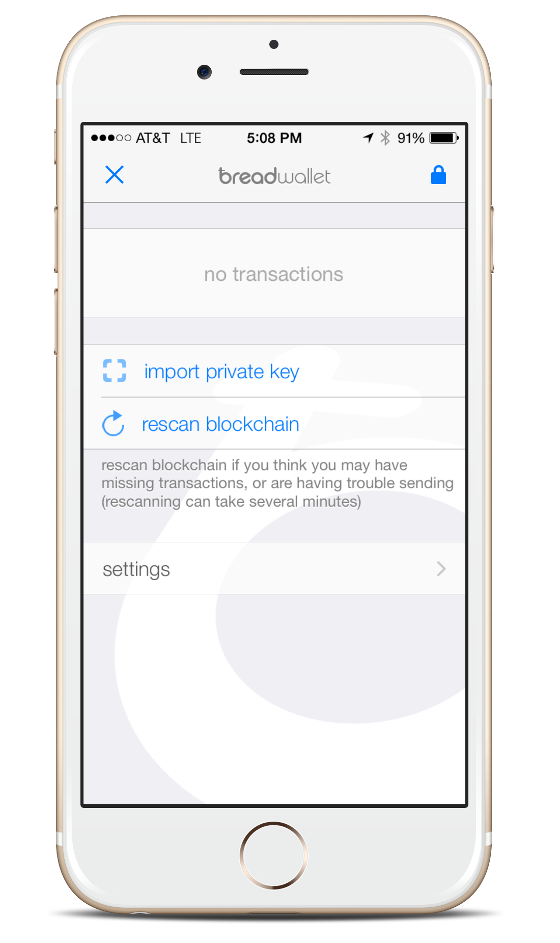 bread wallet for iOS importing bip38 paper wallet tutorial - step 1