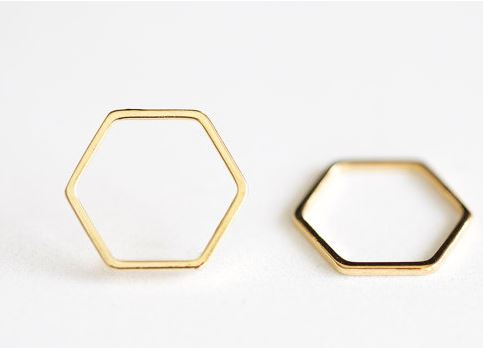 Vermeil Gold Hexagon Connector 2-2 - 18k gold plated over sterling silver, hexagon honeycomb, 16 x 18mm  $6 for 2