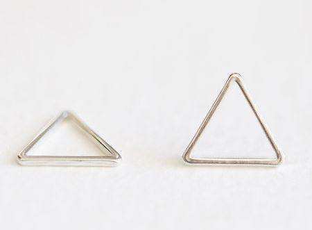 Sterling Silver Organic Open Triangle Connector Charm - 14mm 2pcs, 925 silver, triangle frame, isosceles equilateral geometrical  $4 for 2