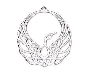 Charm, Amoracast®, sterling silver, 28x27mm phoenix with cutout  $30.40