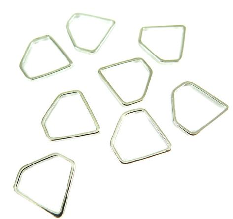 Rhodium Plated Small Diamond Shape Wire Charms (16x)  $4.75 for 16