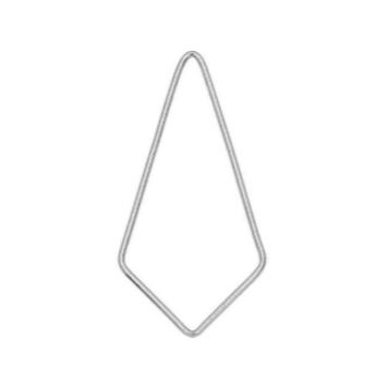 Kite Shaped Open Frame Link, 35 x 17.5mm 18 Gauge, 1 Piece, Sterling Silver  $2.59