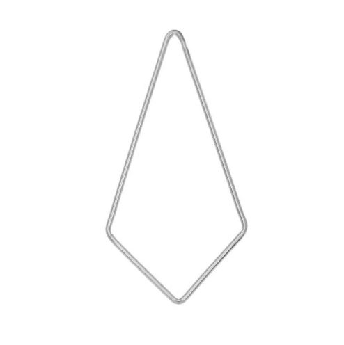 Kite Shaped Open Frame Link, 42x21.5mm / 18 Gauge Thick, 1 Piece, Sterling Silver  $3.75