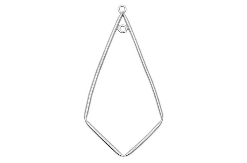 Kite Shaped Drop Open Frame Link, with Two Rings 44x21mm, 1 Piece, Sterling Silver  $6.19
