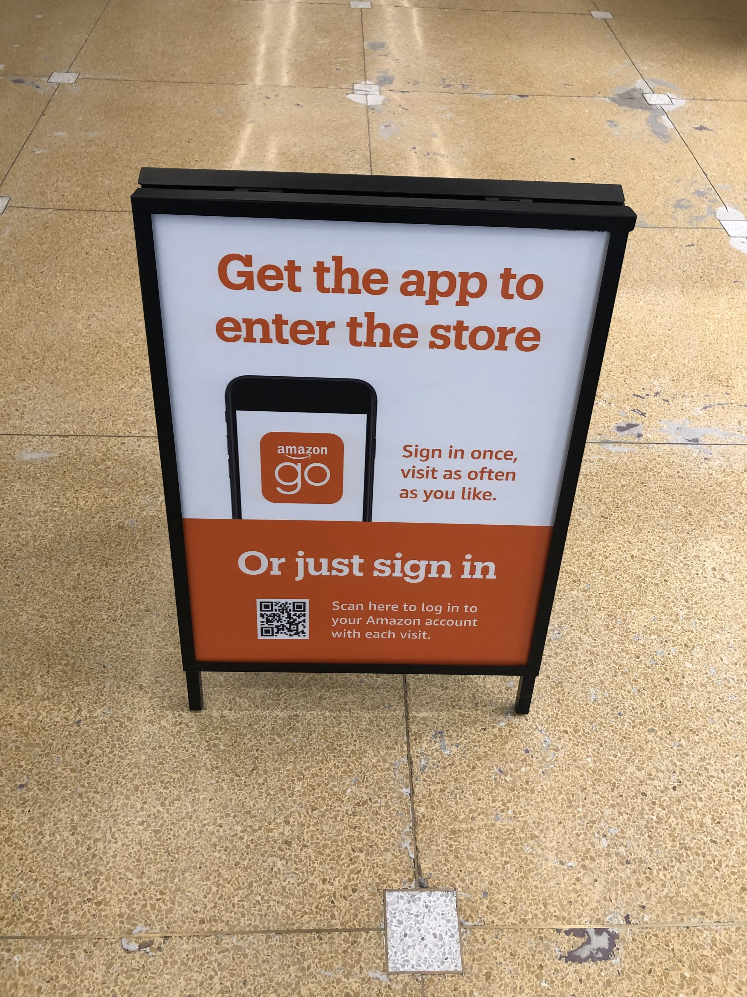 Upon arriving, you have the option of downloading the Amazon Go app, or using the QR code to sign in to Amazon through your mobile browser. I ended up downloading the Amazon Go app because it sends you receipts.