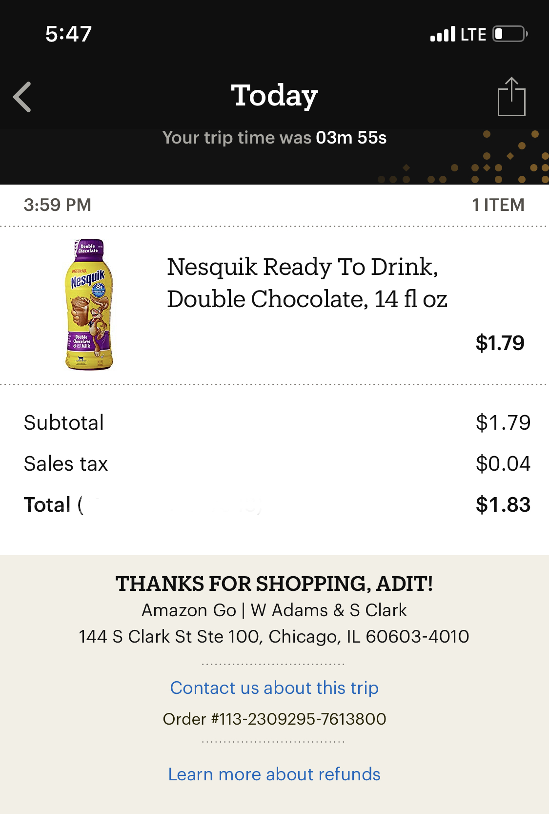 And sure enough, the tech worked as promised. My receipt came through the Amazon Go App.