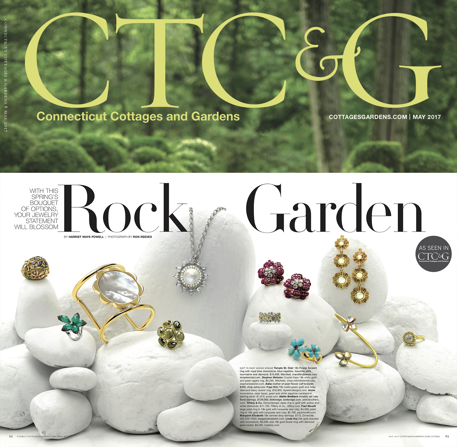 Connecticut Cottages and Gardens | May 2017 - Linda Hoj 22k gold bracelet with moonstone and 18k gold flower ring with diamond pavé center.