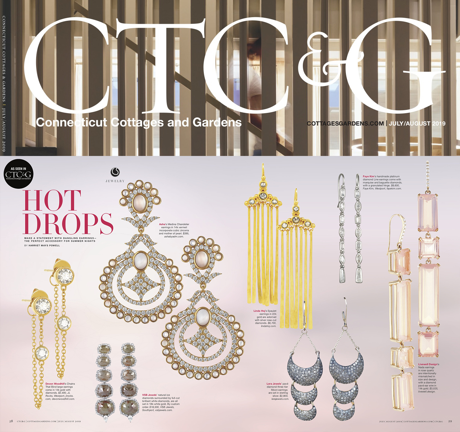 "Connecticut Cottages and Gardens | July/August 2019 - 22k gold ""Epaulet"" earrings featured in collection of statement dangling earrings for summer."