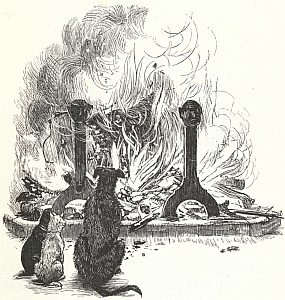 """Yule Log. """"Old Christmas"""" from the  Sketch Book of Washington Irving illustrated by R. Caldecott."""