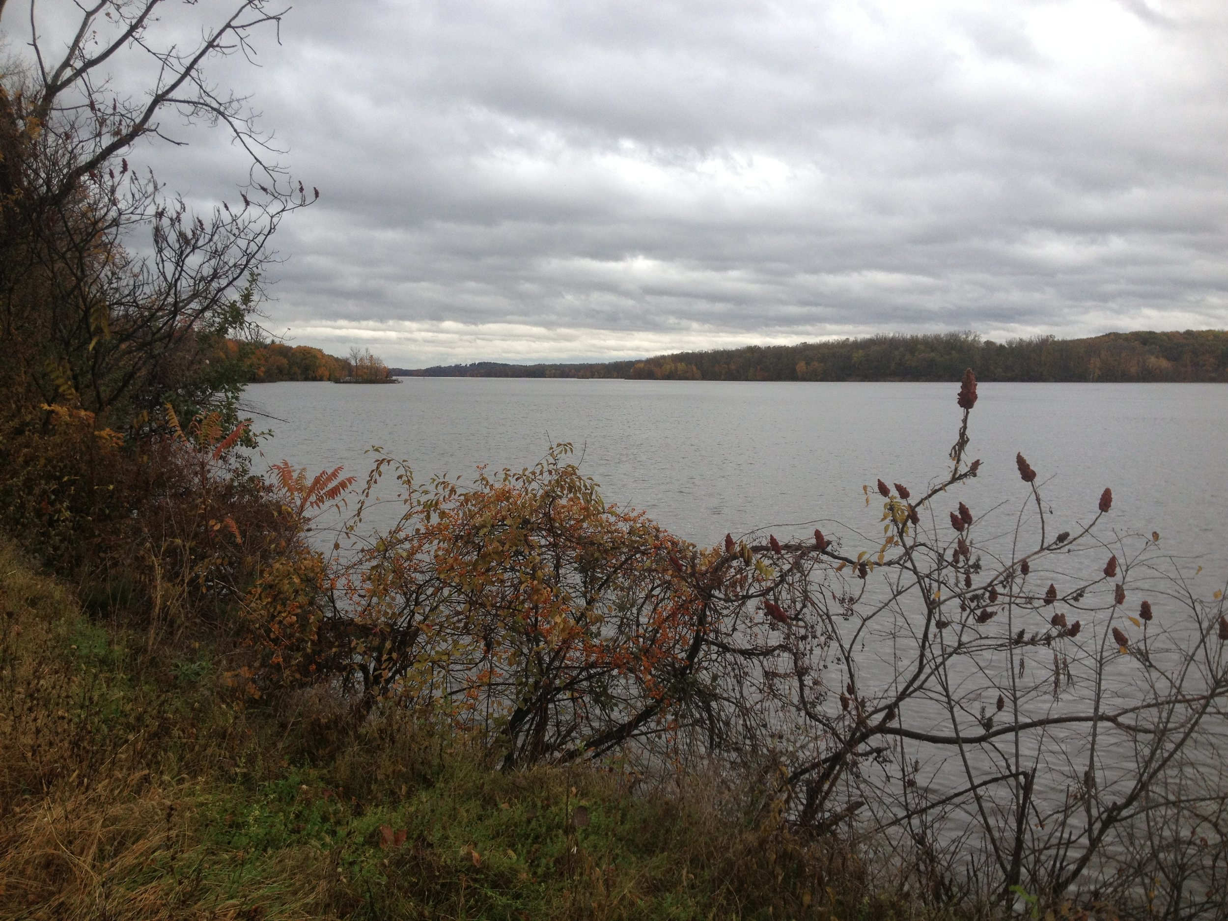 The Hudson River estuary between Coxsackie and Athens, looking up stream on an autumn day.