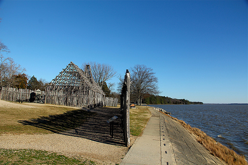 Reconstructed fort wall at the river's edge.  Photo credit: Alyson Hurt