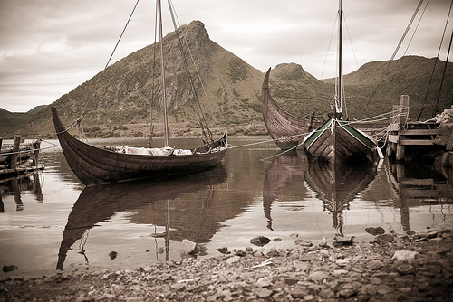 Viking ships.  Photo by Jos van Wunnik