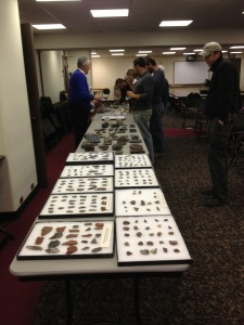 Tables of chert on display at the NYSM