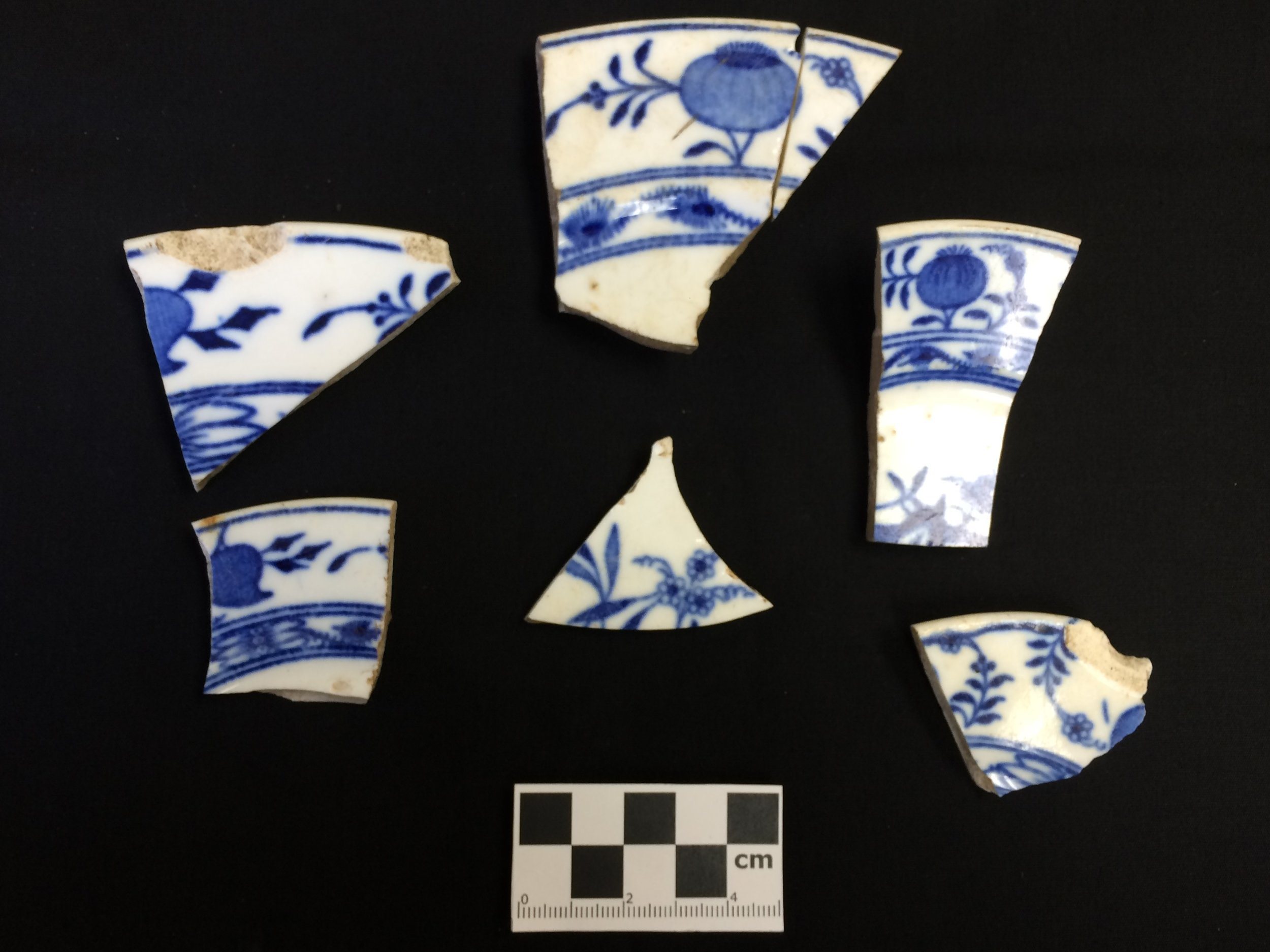 Some onion patterned ceramic fragments recovered on a wintry project not far from downtown Saratoga Springs.