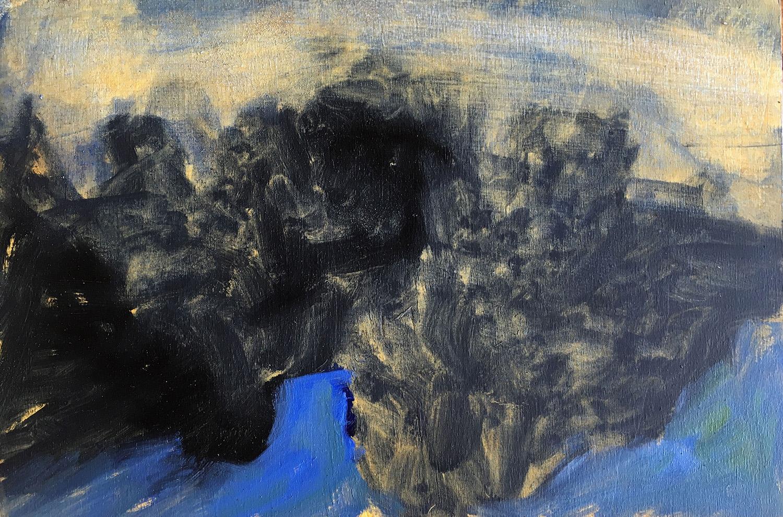 A Lake In The Dark Oil on board, 30x20cm
