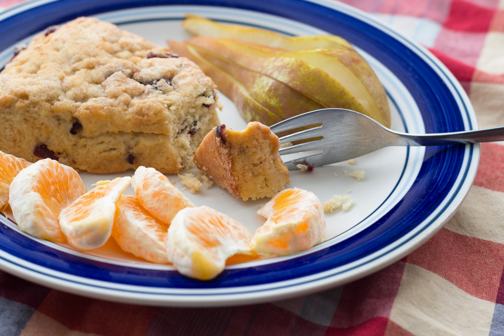 Vegan cranberry scone with satsuma mandarin and bosc pear