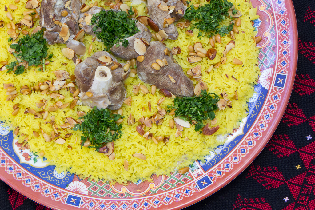 Seasoned Rice - garnished with toasted almonds and parsley. I think the meat was lamb. I only tried the rice but my housemates, who also benefited from this photo shoot (!), raved about this dish.
