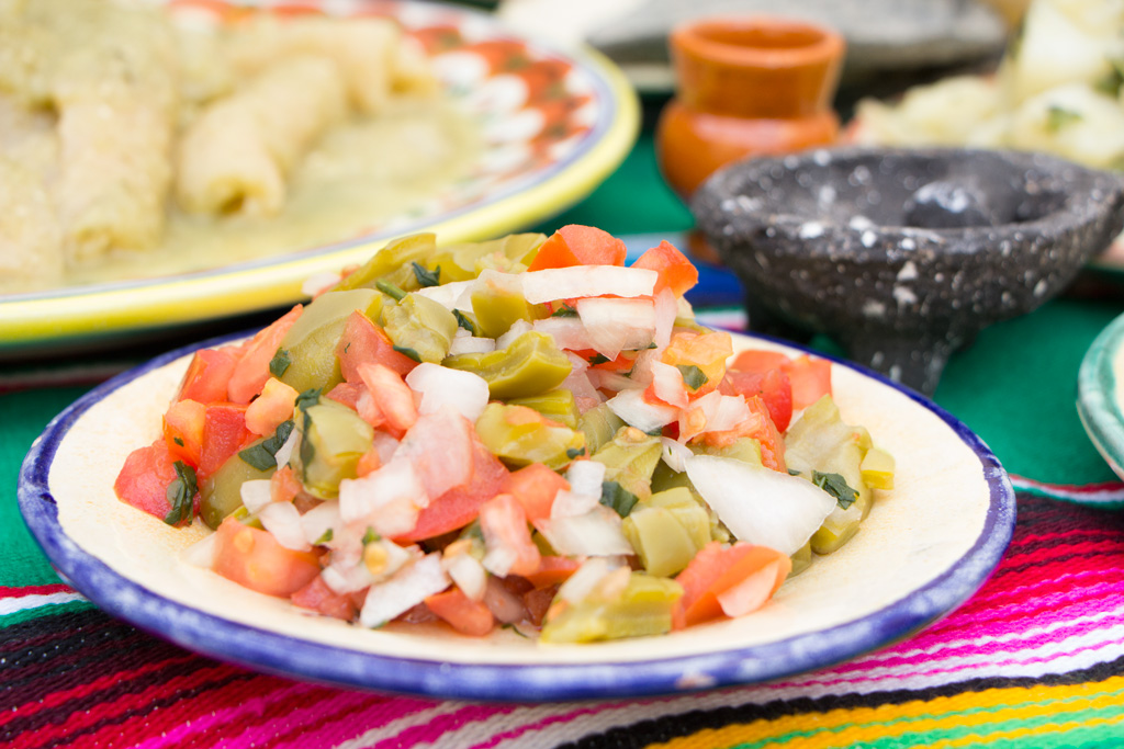Tomato and  nopal  (cactus) salad