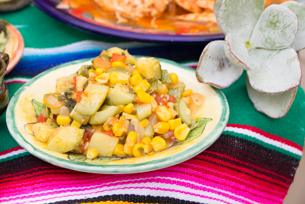 Corn and zucchini filling for the vegetarian tacos