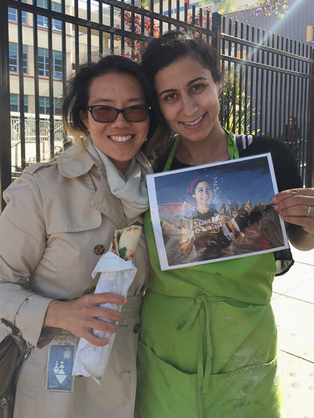 Me and Reem with her delicious man'oushe in hand and her favorite portrait