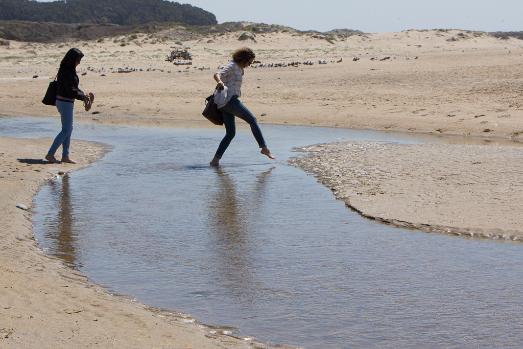 Left to right: Alex and Kaitlyn make their way across a little beach stream at Año Nuevo State Park.