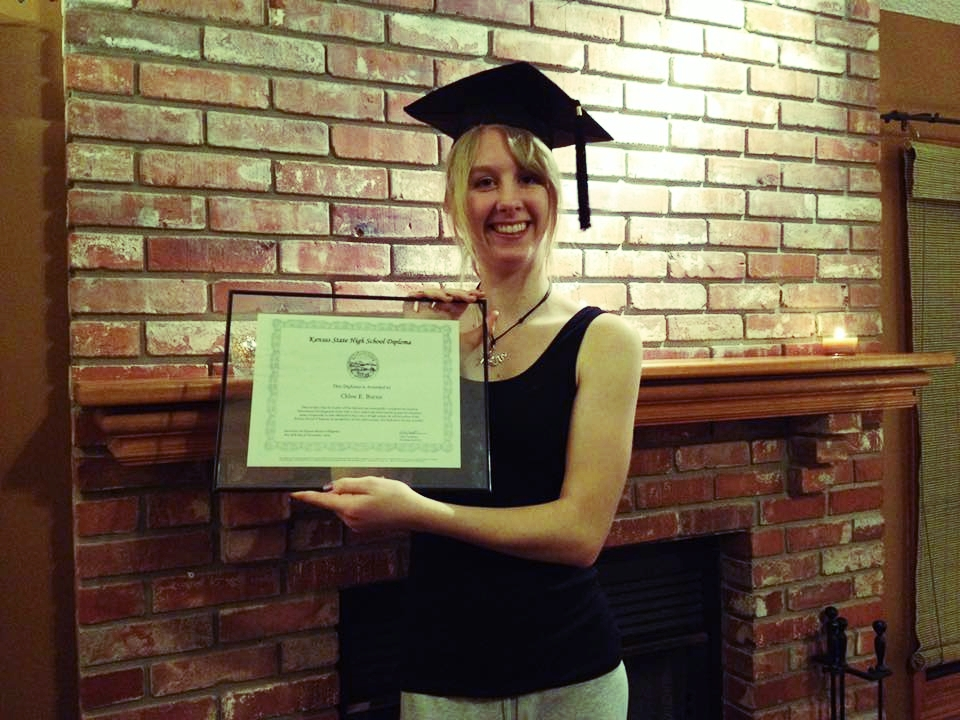 My at-home graduation after taking my GED at 16, in 2013.