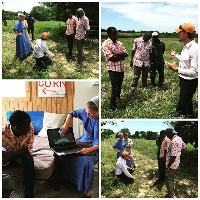 Fun visit today with our friends the Baumans and their guests Francis, Frank and Mathias from Uganda. Big thanks also to @savoryinstitute ecological outcomes verification trainer Ryan White for joining us, and taking a break from our EOV training session to talk Tallgrass! #biodiversity #holisticmanagement #regenerativeagriculture #farmfriends  #100degrees